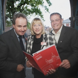 Ulster Banks Dan McGinn with Belfast City Councillor Aileen Graham and John Donovan at the during the opening reception Belfast International Homecoming 2017 at the Duncan Culture and Arts Centre