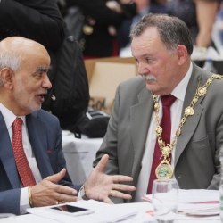 Belfast Homecoming 2017, The Drawing offices, Titanic Hotel. Lord Diljit Rana with Mayor of Dublin Micheal Mac Donncha