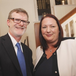 Belfast Homecoming 2017, Reception with US Consul General Dan Lawton with Marie Thompson, Principle of Malone College