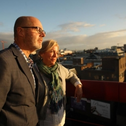 Joanne Meehan with Bill Bulger of Boston watching the sun rise over Belfast