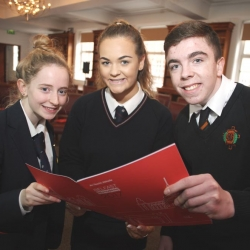 Legal Symposium 2017, The Inn of Court, Royal Courts Of Justice, Belfast, Annie Hackett and Aoife McMahon rom Aquinas Grammar School with Christopher Greene from St Marys CBGS