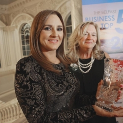 The Belfast Top 50 Awards 2017 at Cityhall, Winner Karen Gilgunn with Judge Francine Schott